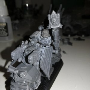 Chaplain, this time on bike.  Mostly made using the new Ravenwing kit.  Helmet is from Anvil Industries.