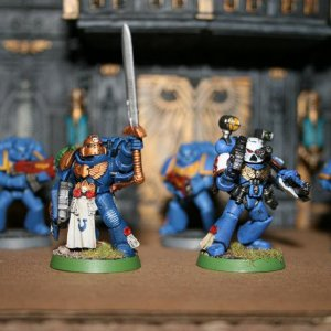 Command Squad Champion and Space Marine Apothecary