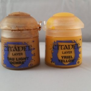 "Tau light ochre"" for base coat of yellow. ""Yreil Yellow"" for the color section of the yellow. Low pigment count so multiple coats requi"