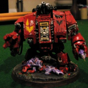 Blood Angel Dreadnought with tyranid corpse
