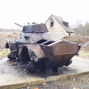 Burnt out Armoured car